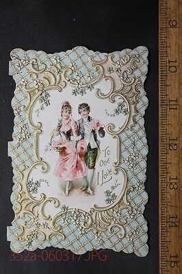 Wonderful Antique Embossed Valentine Card Colonial Design Fancy Dressed Couple &