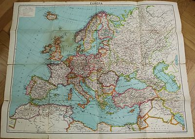 orig. GERMAN  WW2 TWO PARTS OF MILITARY BIG MAP OF EUROP 1939 WHEN WAR START