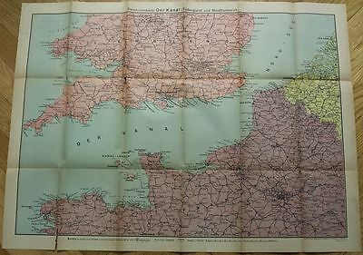 orig. GERMAN  WW2  MAP OF KANAL CHANNEL SOUTH OF ENGLAND + NORTH FRANCE  1944