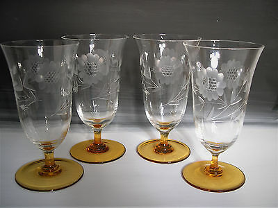 4 Tiffin Crystal and Amber Tumbler Glasses, W. J. Hughes Cornflower