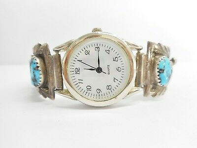 Arthur Yazzie Native American Sterling Silver Turquoise Watch Works! #3121