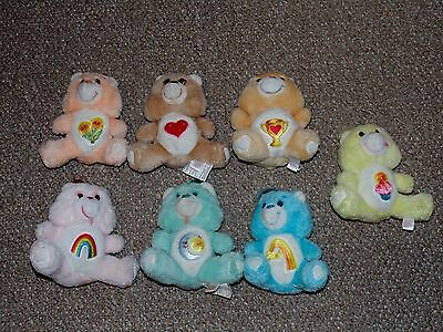 "1980s Lot of 7 Vintage 6"" Kenner Care Bear Plush Dolls Champ Birthday More"