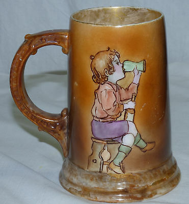 Antique CAC American Belleek Hand Painted Tankard Stein Mug w Boy Child Drinking