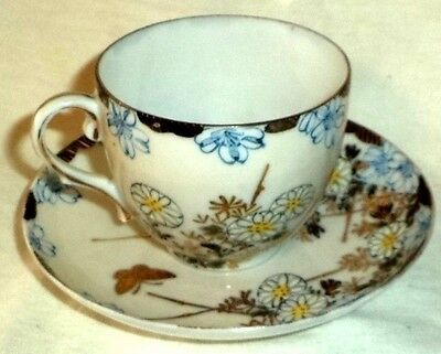 Very Fine Translucent Cup & Saucer Blue Flowers Yellow Centers Butterfly Gold