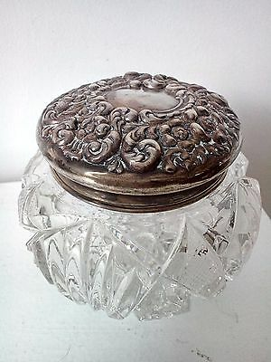 """Antique Repousse Sterling Silver Top  Glass Powder Jar Box 4"""" Tall"""