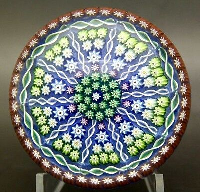 "PERTHSHIRE Patterned Millefiori & Twist Cane Glass Paperweight,Apr 2.25""H x 3""W"