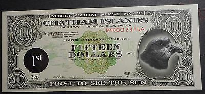 New Zealand Chathan Islands 1999 series A   $15  Dollar   Note  UNC