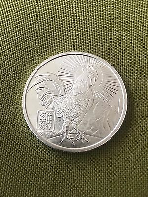 1 oz. 2017 Year of the Rooster art round .999 fine silver