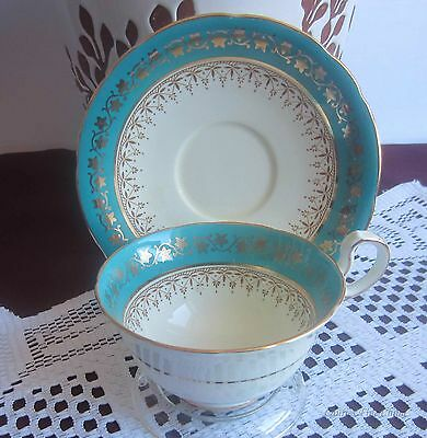 Aynsley C170 Turquoise Bands,Gold Details Bone China Tea Cup & Saucer