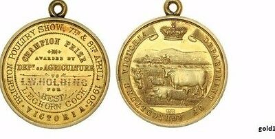 GOLD MEDAL 15Ct 1905 VICTORIA D of AG POULTRY SHOW BEST LEGHORN COCK RARE