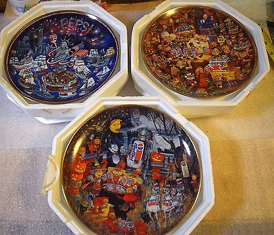 Lot Of 3 MIB 1995 The Franklin Mint PepsiCo Fine Porcelain Plates Limited