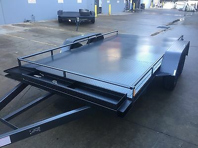 Car Trailer brand new Tandem Dual axle with rails 12X6.6FT 2T ATM USE 4 MOWERS