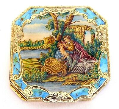 Antique Italy ~800 Sterling Silver~ Compact Hand Painted Enamel Lovers Turqouise