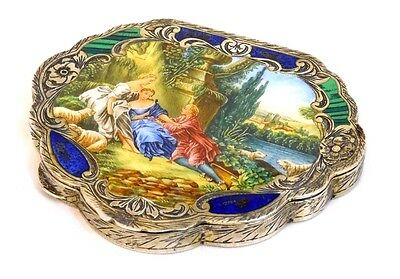 Antique Italy 800 Sterling Silver Compact Hand Painted Enamel 3 Women Lapis Mal