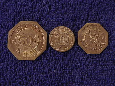 Wwii March Field California Usaac Nco Club Token Coin (Set Of 3) 50 10 & 5 Cents