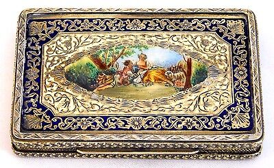 Antique Italy ~800 Sterling Silver~ Compact Hand Painted Enamel Couple Lovers