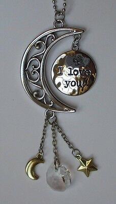 bb I love you to the moon & back CAR CHARM rear view mirror ORNAMENT ganz prism