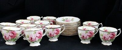 12 Royal Albert American Beauty Cup And Saucer Sets England 4 Sets -48 Available