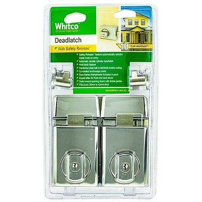 Whitco Chrome Double Cylinder Deadlatch - 2 Pack