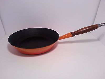 Large ~ Le Creuset Frying Pan 28 Volcanic Orange ~ wooden handle