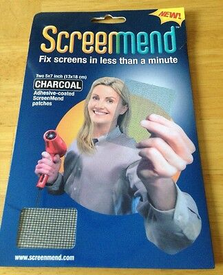 NIB Screenmend Two 5x7 Inch Charcoal Screen Mend Patches