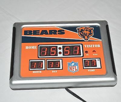Chicago Bears Football Scoreboard Digital LED Clock Thermometer Date Wall Desk