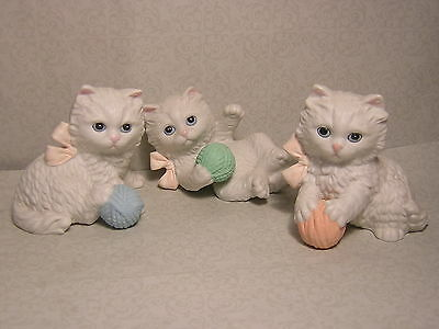 Vintage Homco  3  Playful Kitten with Yarn  figures   Home Interiors  #1410