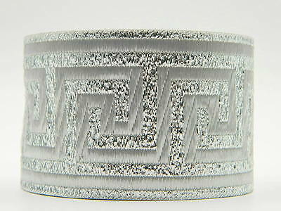 10m Jacquard Ribbon/Trim Medieval/ 50mm width Greek Key Metallic Silver