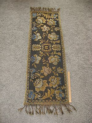 Vintage Italian Tapestry Table Runner or Piano Scarf Fringed Made in Italy 55x15