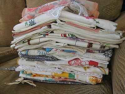 LOT OF 54 VINTAGE LINENS Scarves NAPKINS Topper Pillowcases Aprons Doily Curtain