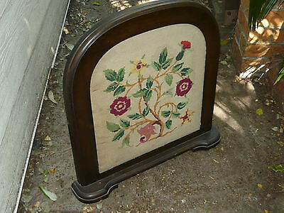 Timber Embroidery Fire Place Screen VINTAGE ANTIQUE Australian Blackwood Walnut