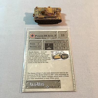 Axis & Allies Miniatures / Panzer Iii Ausf F Tank / 30/45 Germany
