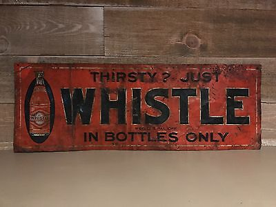 Vintage Original Whistle Soda Embossed Tin Sign Very Rare
