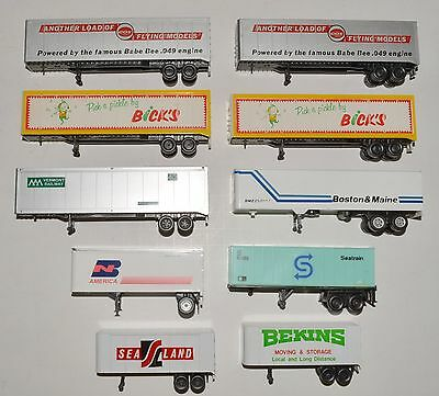 10 used trailers, various shipping companies and railroads, HO scale Lot D
