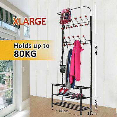 Metal Coat Hat Bag Clothes  Shoe Rack Stand Shelf Garment Hanger 22  Hooks