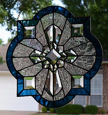 """""""Brilliant Cross"""" Beveled Stained Glass Window Panel"""