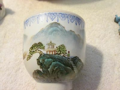 Chinese Eggshell Porcelain Wine Cup Qianlong Republic Period Mark
