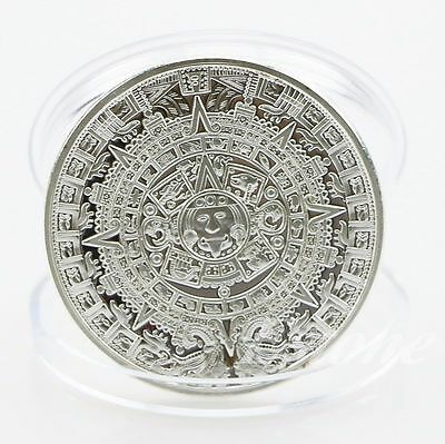 Silver Plated Mayan Aztec Calendar Souvenir Commemorative Coin Collection Gift