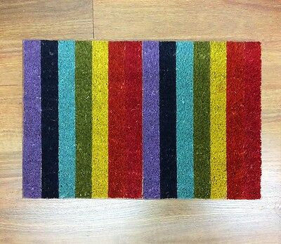 OUTDOOR FRONT DOOR MAT DOORMAT RUG RAINBOW COCONUT FIBRE 60*40cm