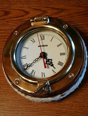 "Vintage Vetus 6 1/2"" Brass Rope Wood Ship Boat Porthole Quartz Clock"