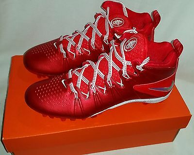 Nike Huarache 4 Lax LE Lacrosse Cleats, Men's Size 7.5, Red
