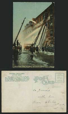 Firefighters Fighting Flames Detroit Mich. Old Postcard