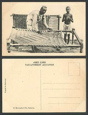 India Old Postcard CHARPOY WEAVERS Weaving Loom Native Man Young Boy Ethnic Life