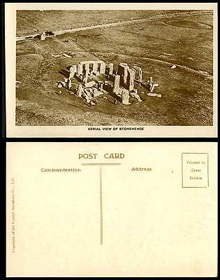 STONEHENGE Aerial View Wiltshire c1920 Old Real Photo Postcard Central Aerophoto