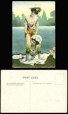 Bathing Beauty Belle Two is Jolly Fine Company Women Ladies Pushups Old Postcard