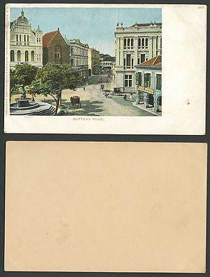 Singapore Old Postcard Battery Road Street Scene Fountain, James Motion Optician