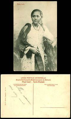 Singapore Old Postcard Native Malay Lady Woman Smoking, Necklace, Silk Costumes