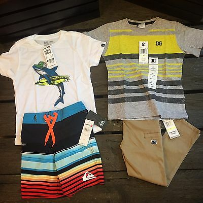 Boys 4T Clothing Lot Quiksilver Surf Skate Beach Summer Lot 6 Retail $128