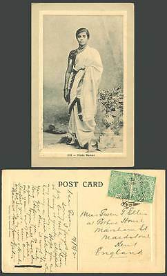 India KG5 1/2a x 2 1921 Old Embossed Postcard Hindu Woman, Native Lady, Barefoot