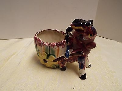 Donkey And Cart Planter Small Crack On Side Not Noticeable Good Colors Vintage J